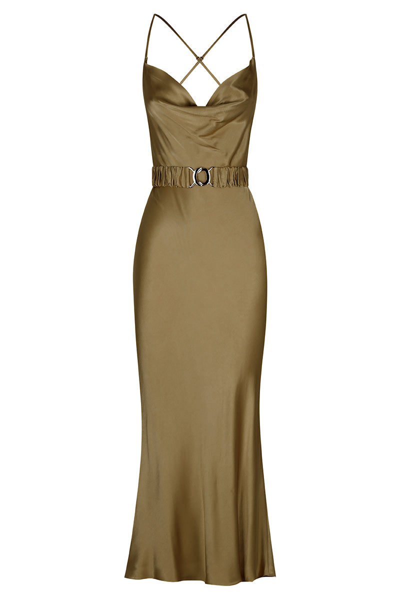 Shona Joy GALA BIAS COWL MIDI DRESS WITH BELT - WARM OLIVE