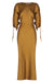 WRIGHT RUCHED SLEEVE MIDI DRESS - OCHRE
