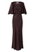 WRIGHT FLUTTER SLEEVE BIAS MIDI DRESS - CHOCOLATE