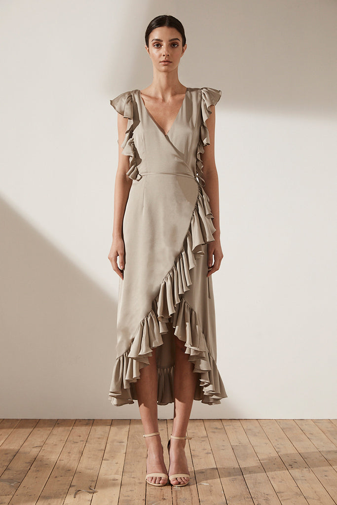ZEPHYR RUFFLE WRAP MIDI DRESS - LATTE