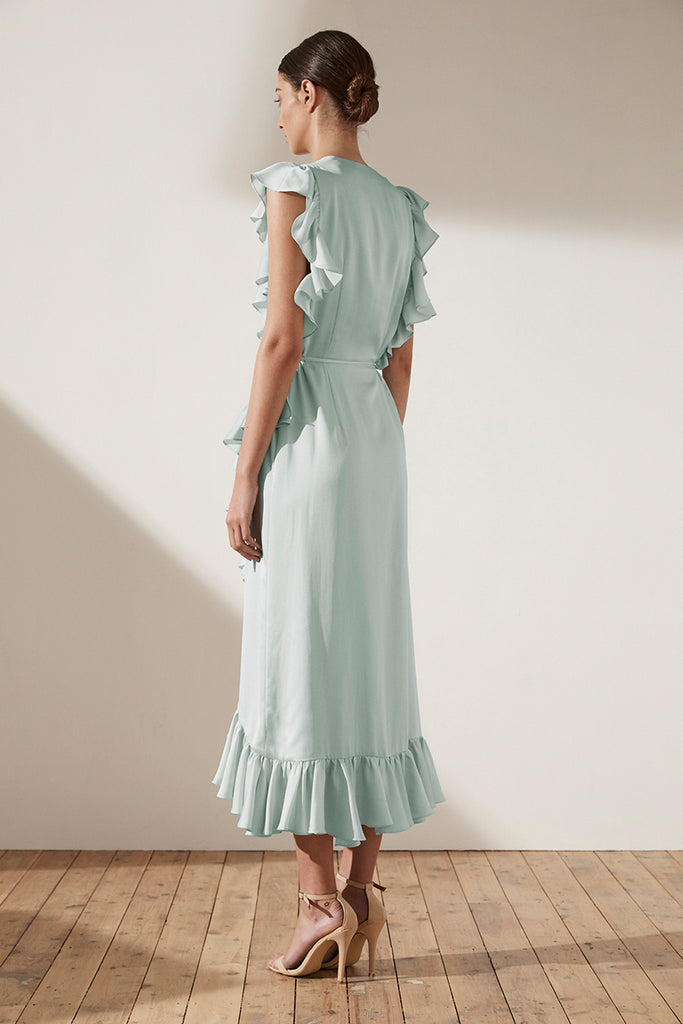 ZEPHYR RUFFLE WRAP MIDI DRESS - SEAFOAM
