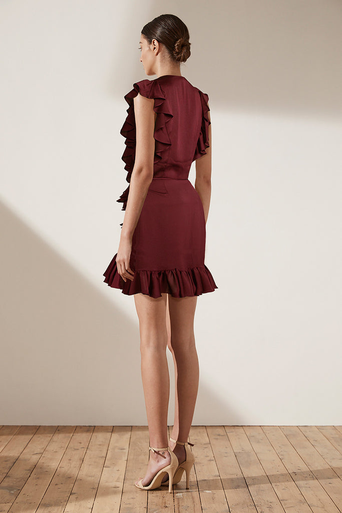 ZEPHYR RUFFLE WRAP MINI DRESS - OXBLOOD