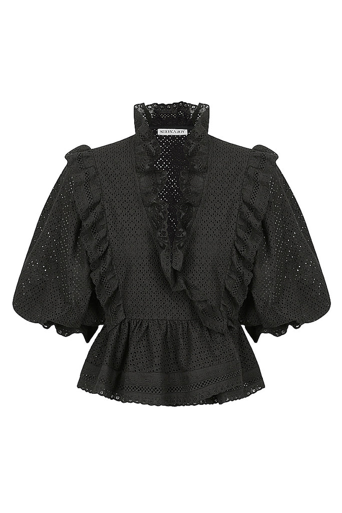 ACKLEY COTTON LACE PUFF SLEEVE WRAP BLOUSE - BLACK