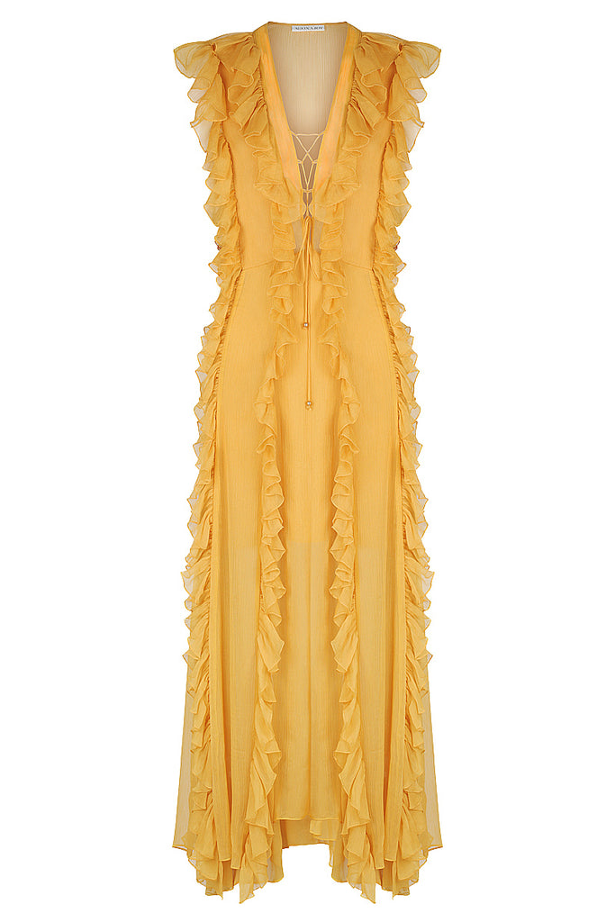 AMBRA LAYERED RUFFLE MAXI DRESS - SAFFRON