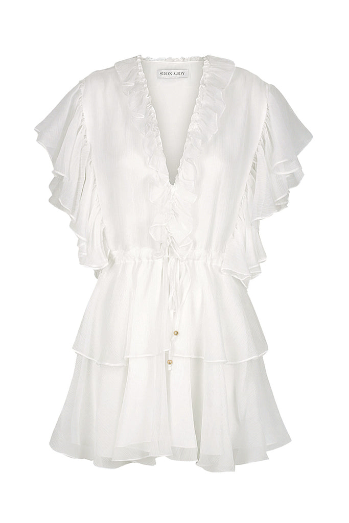 AMBRA RUFFLE DRAWSTRING MINI DRESS - WHITE