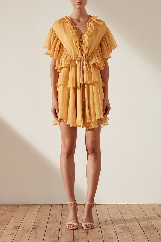 AMBRA RUFFLE DRAWSTRING MINI DRESS - SAFFRON