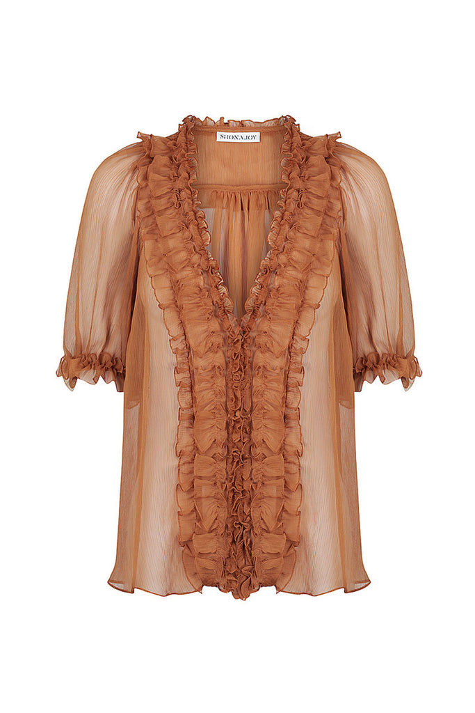 AMBRA PUFF SLEEVE BLOUSE - TOFFEE
