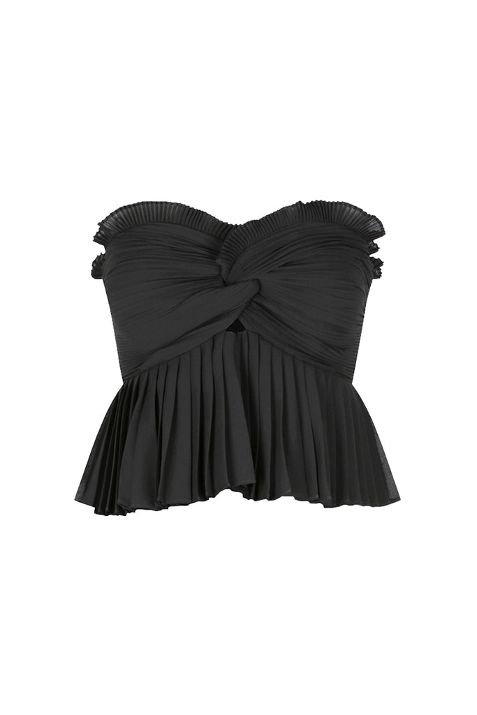 BOTTICELLI PEPLUM CROPPED TOP - BLACK