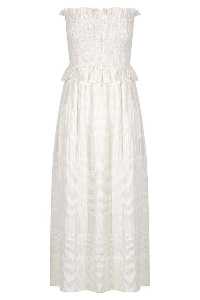 CHIARO LINEN SHIRRED BABY DOLL DRESS - IVORY