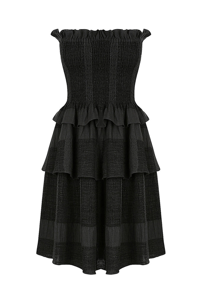 CHIARO LINEN SHIRRED TIERED MINI DRESS - BLACK