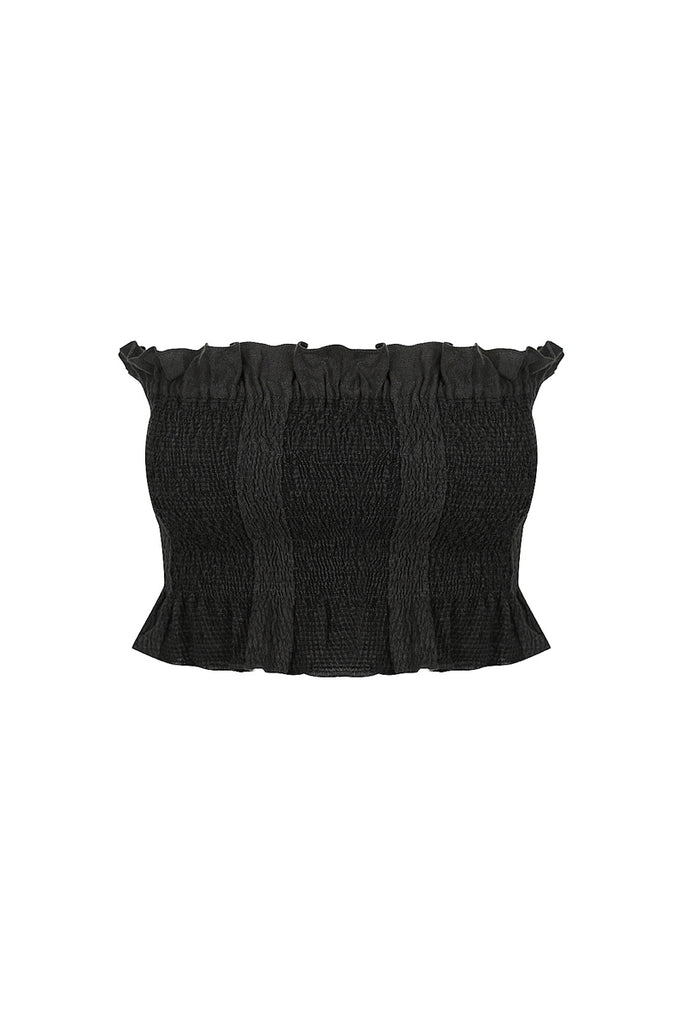 CHIARO LINEN SHIRRED CROP TOP - BLACK