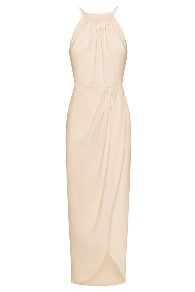 CORE HIGH NECK RUCHED DRESS - NUDE