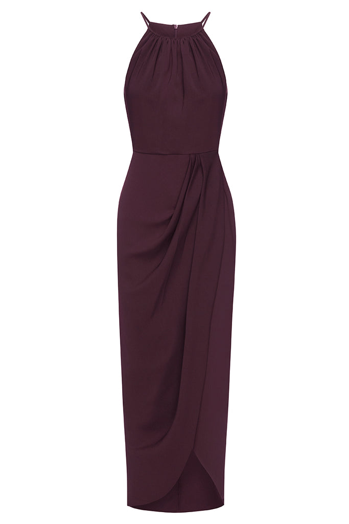 CORE HIGH NECK RUCHED DRESS - AUBERGINE