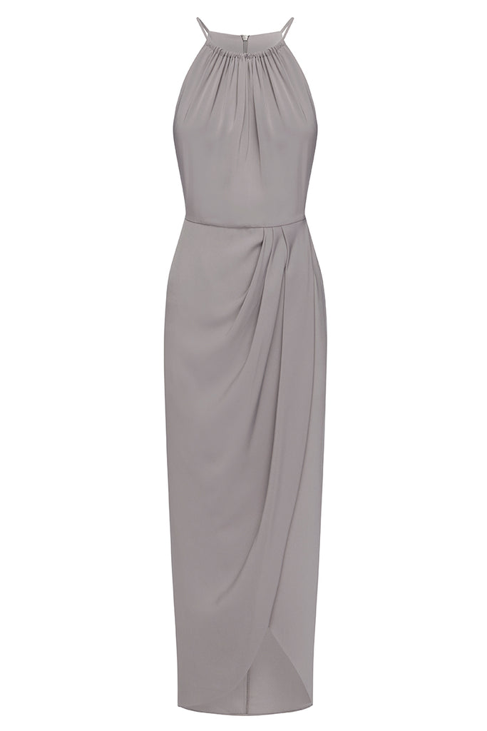 CORE HIGH NECK RUCHED DRESS - GREY