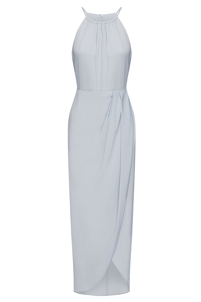 CORE HIGH NECK RUCHED DRESS - POWDER BLUE