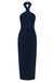CORE KNOT DRAPED DRESS - NAVY