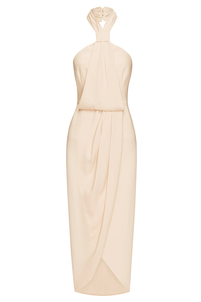 CORE KNOT DRAPED DRESS - NUDE