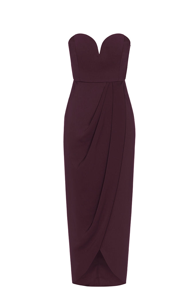 CORE 'U' BUSTIER DRAPED DRESS - AUBERGINE