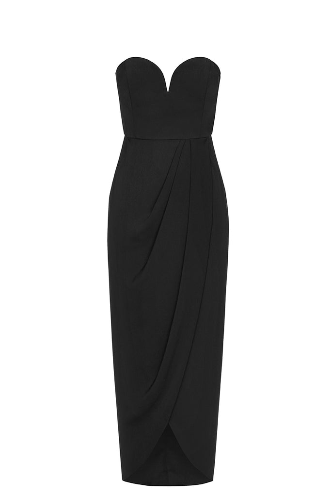CORE 'U' BUSTIER DRAPED DRESS - BLACK