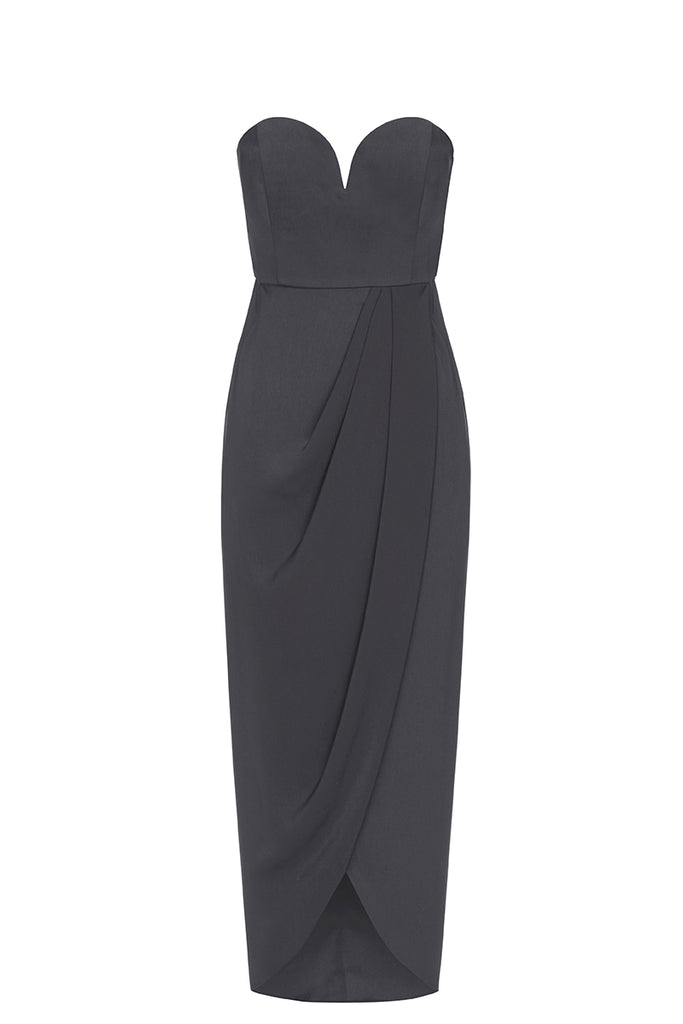 CORE 'U' BUSTIER DRAPED DRESS - CHARCOAL