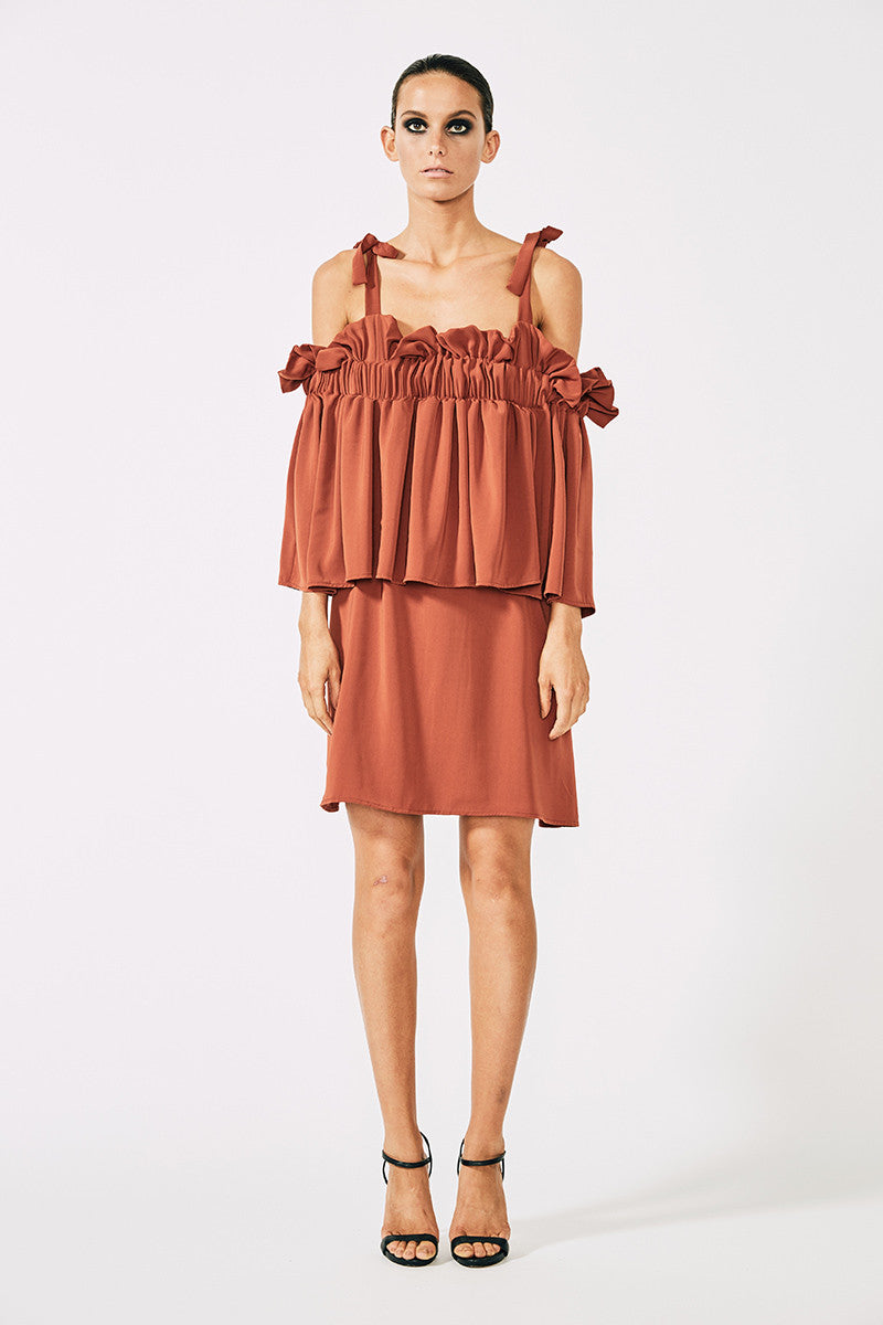 VOLTAIRE FRILL MINI DRESS - RUST