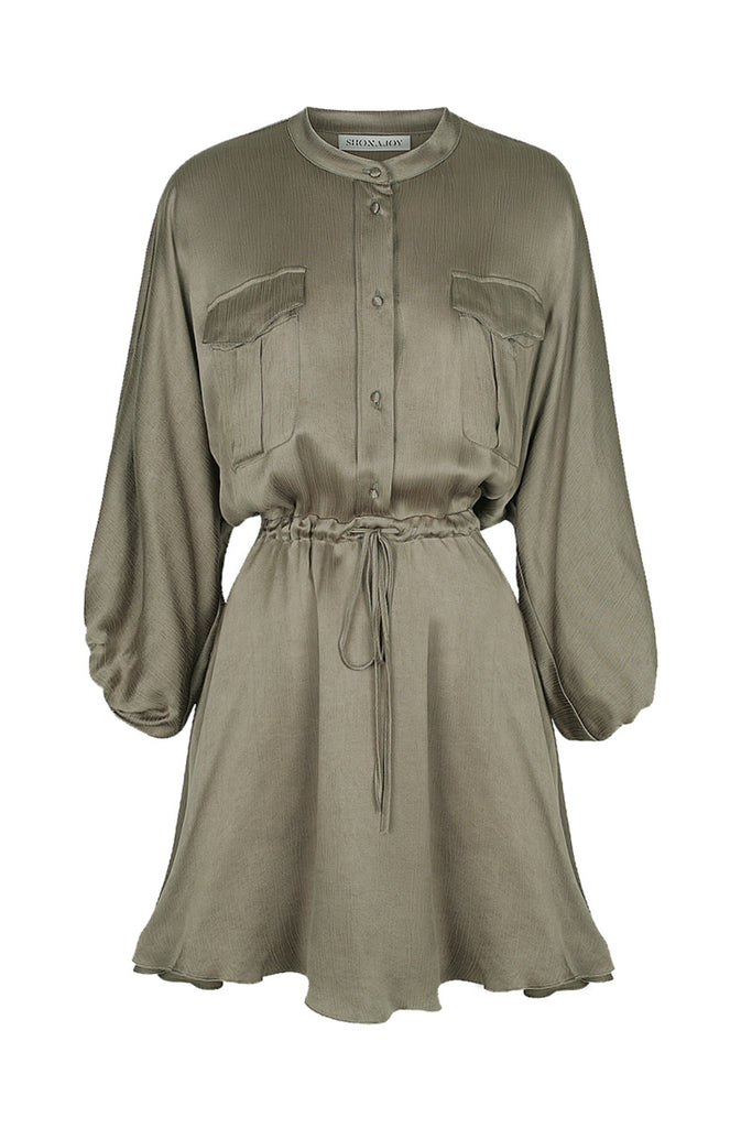 ELTON BALLOON SLEEVE MINI DRESS - OLIVE