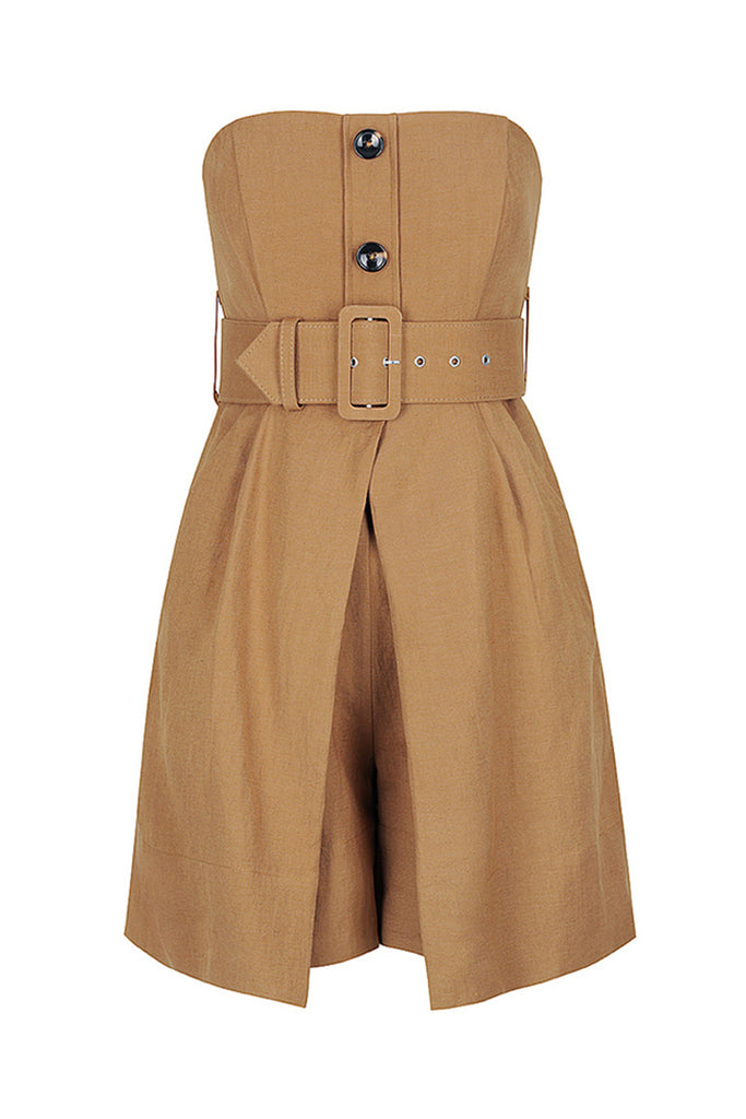 GAIA LINEN BUSTIER PLAYSUIT WITH BELT - NUTMEG