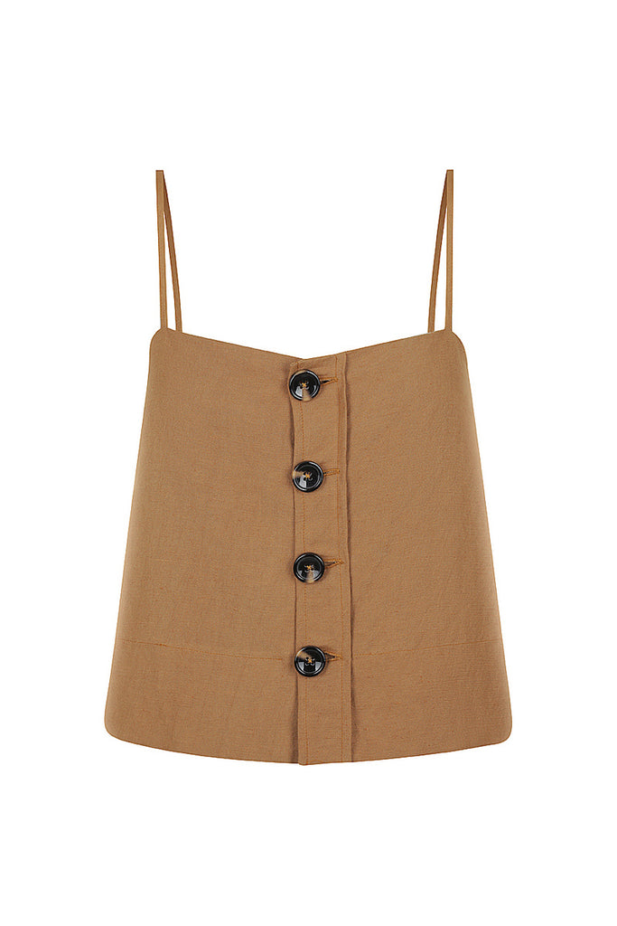 GAIA LINEN BUTTON UP CROPPED CAMISOLE - NUTMEG
