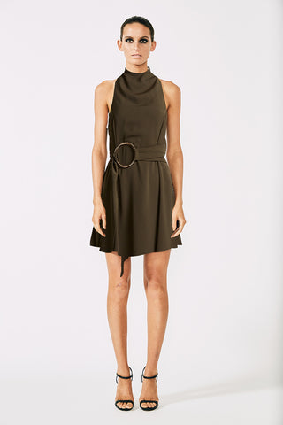 VOLTAIRE HIGH NECK MINI DRESS WITH RINGS - KHAKI