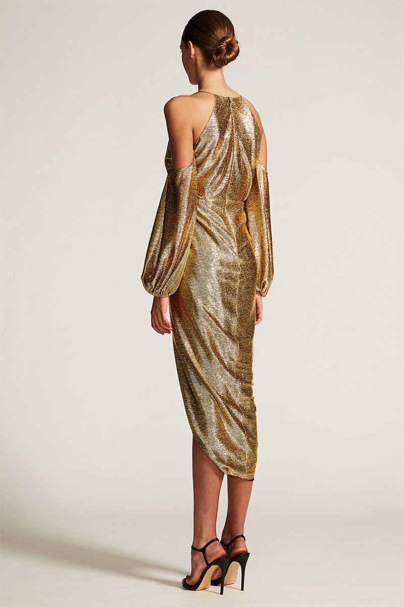 KULA OPEN SHOULDER DRAPED DRESS