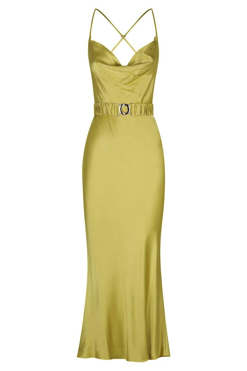 Shona Joy GALA BIAS COWL MIDI DRESS WITH BELT - LIME