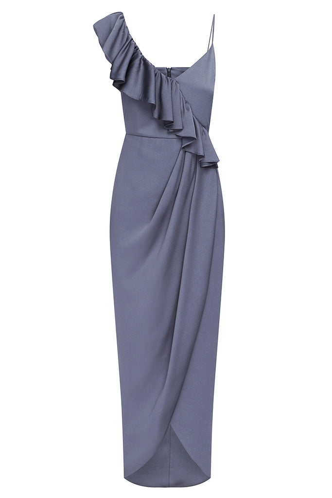 LUXE ASYMMETRICAL FRILL DRESS - PEWTER
