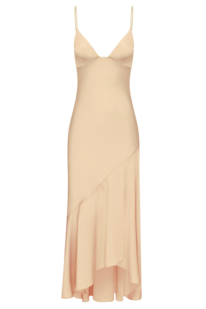 LUXE BIAS ASYMMETRICAL SLIP DRESS - CHAMPAGNE