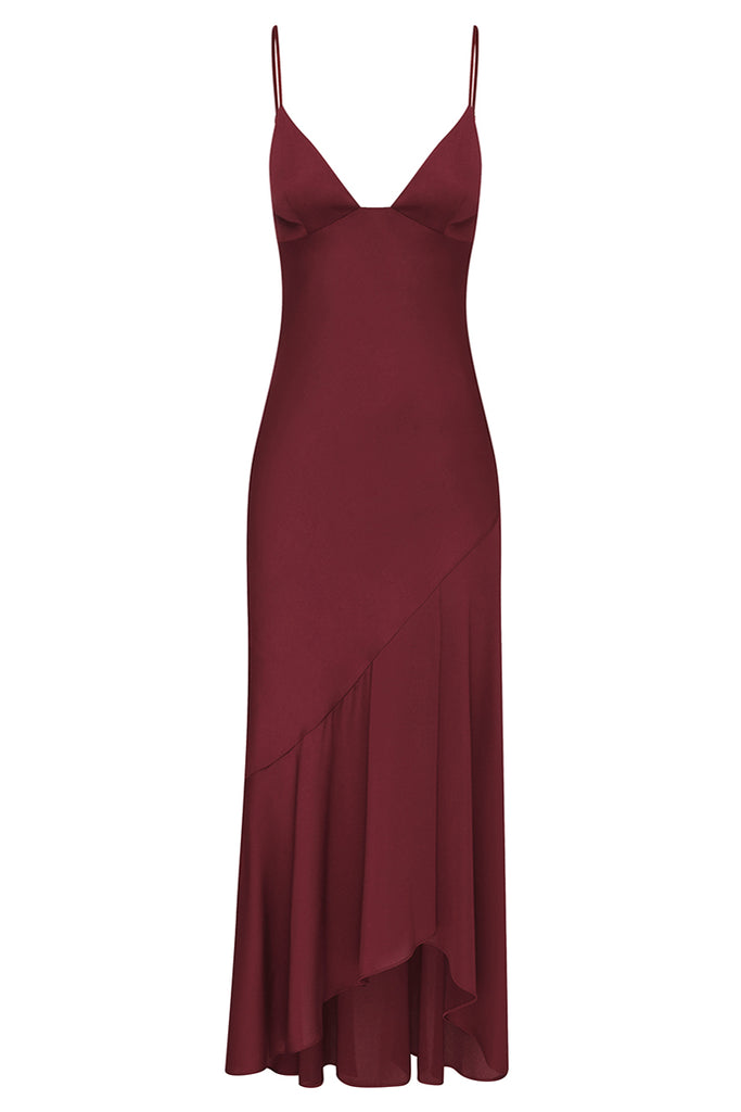 LUXE BIAS ASYMMETRICAL SLIP DRESS - GARNET