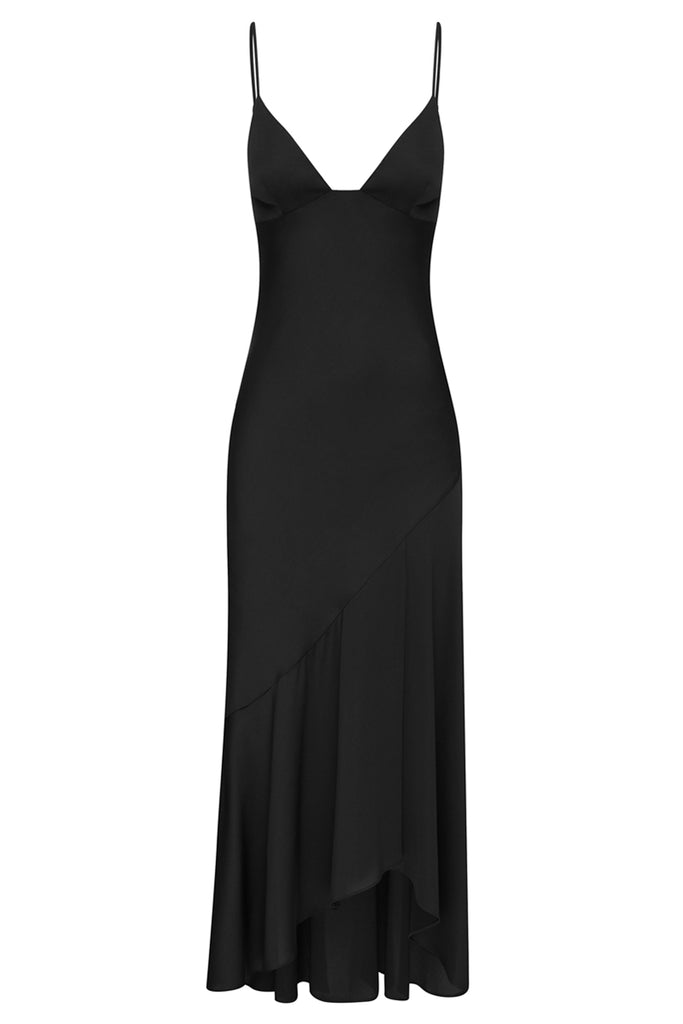 LUXE BIAS ASYMMETRICAL SLIP DRESS - ONYX