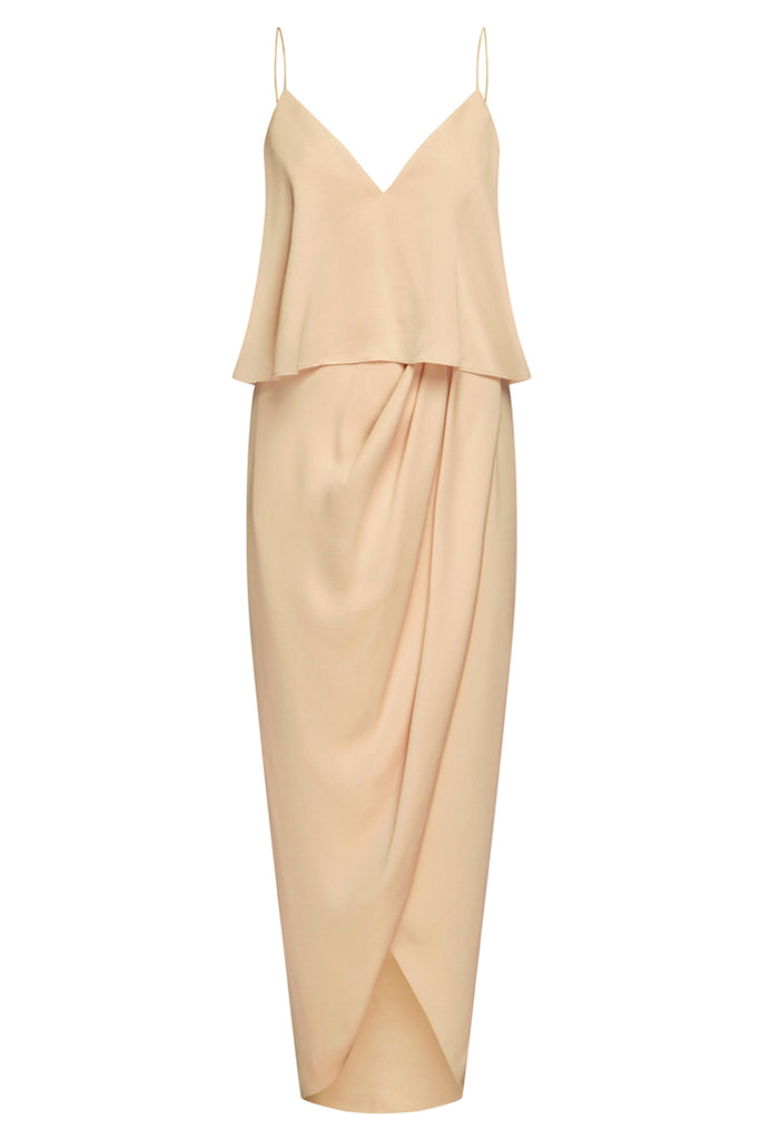 LUXE COCKTAIL FRILL DRESS - CHAMPAGNE