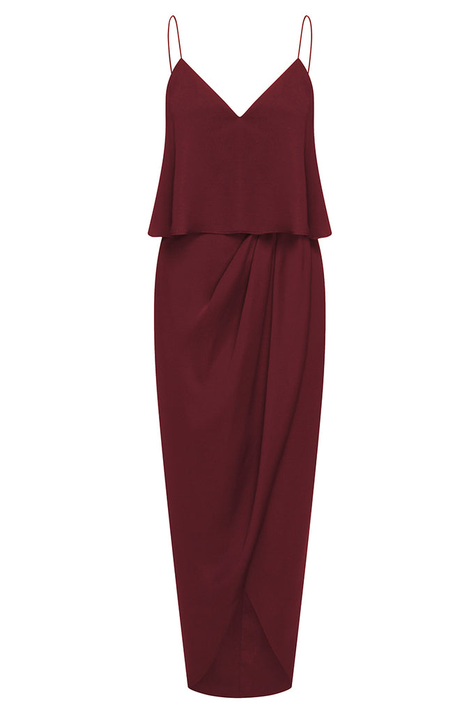 LUXE COCKTAIL FRILL DRESS - GARNET