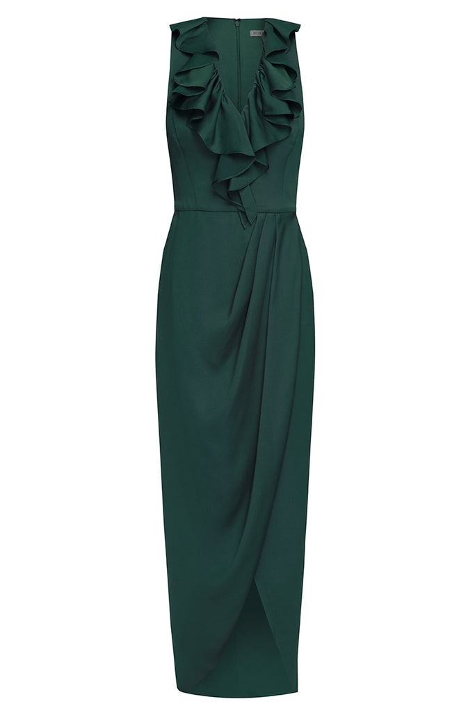 LUXE PLUNGED FRILL DRESS - EMERALD