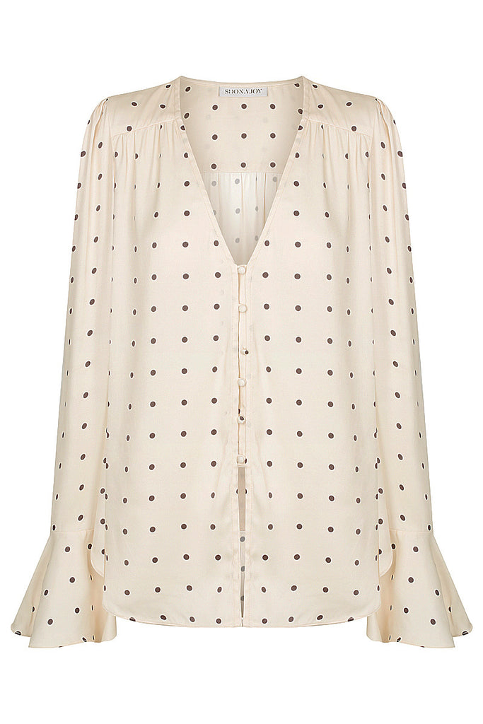 O'DELL FRILL CUFF BLOUSE - CREAM