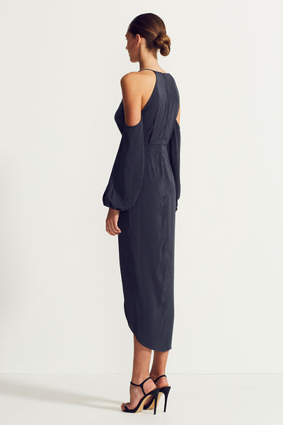 CORE OPEN SHOULDER MAXI - CHARCOAL