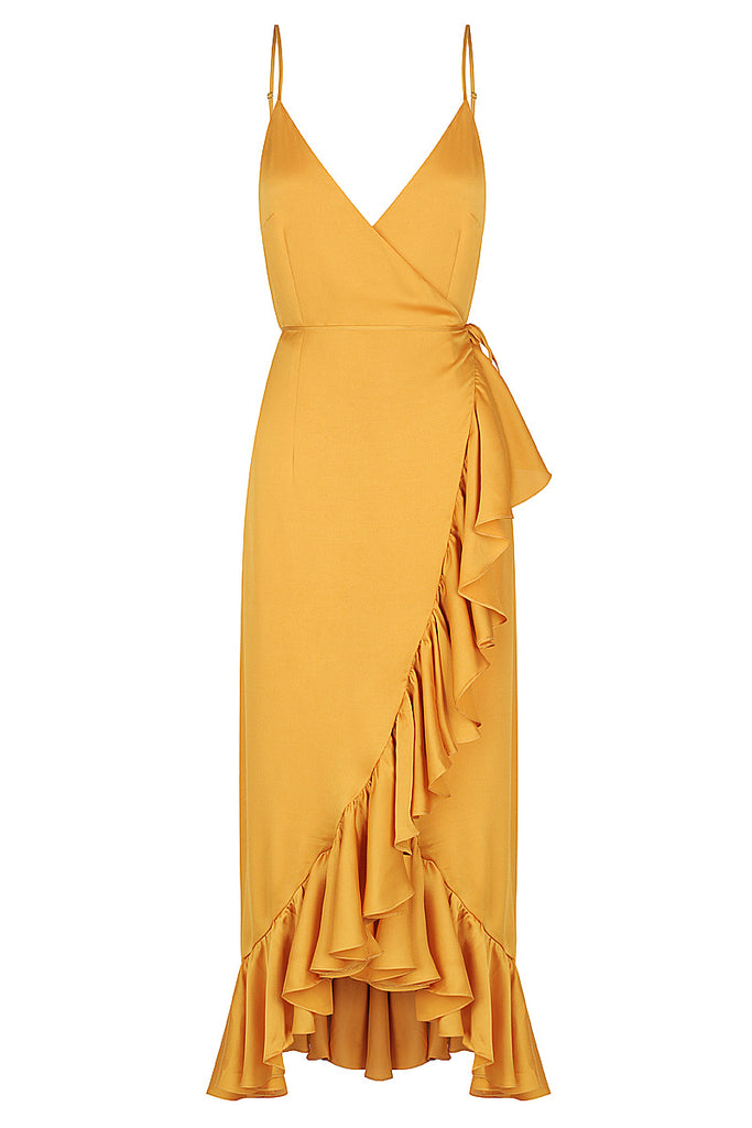 ORO COCKTAIL WRAP MIDI DRESS - SAFFRON