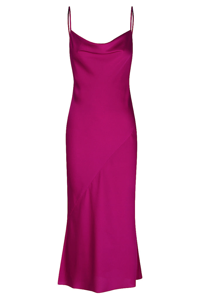 SAWYER BIAS COWL MIDI DRESS - FUCHSIA