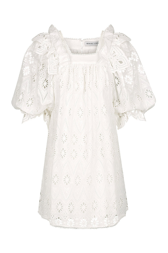 VIOLA COTTON LACE PUFF SLEEVE BABY DOLL MINI DRESS - WHITE