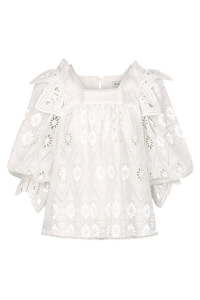 VIOLA COTTON LACE PUFF SLEEVE BABY DOLL BLOUSE - WHITE