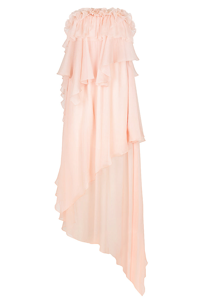 WILLOW ASYM RUFFLE MAXI DRESS WITH PETAL TRIM - BLUSH