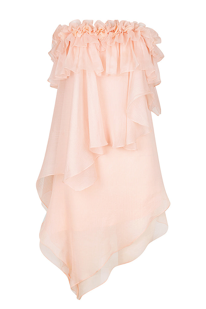 WILLOW ASYM RUFFLE MINI DRESS WITH PETAL TRIM - BLUSH
