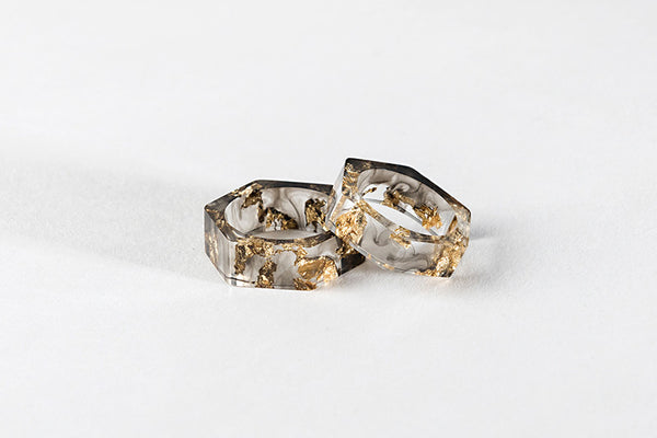 Bioresin Hexagon Ring Tainted with Gold Foil
