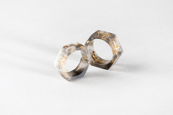 Bioresin Hexagon Ring Tainted with Gold Foil Matte