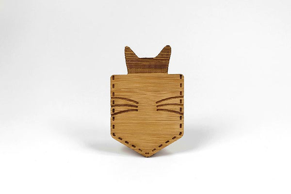 Bamboo Cat Brooch - Cat In A Pocket