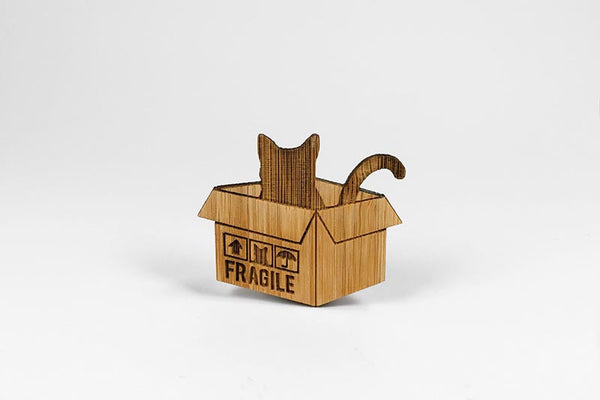 Bamboo Cat Brooch - Cat In A Box